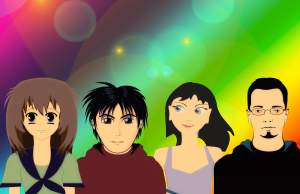 team group of 4 cartoon